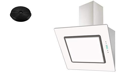 respekta Umluftset_CH99040-60W+MIZ0023 Dunstabzugshaube Schräghaube kopffrei weiß 60 cm + Aktivkohlefilter