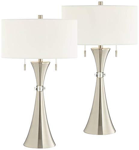 Rachel Concave Column Lamps Set of 2 with Table Top Dimmers - 360 Lighting