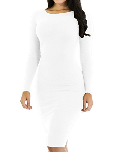 Haola Women's Sexy Casual Long Sleeve Short Dress Slim Party Club Mini Dress M White