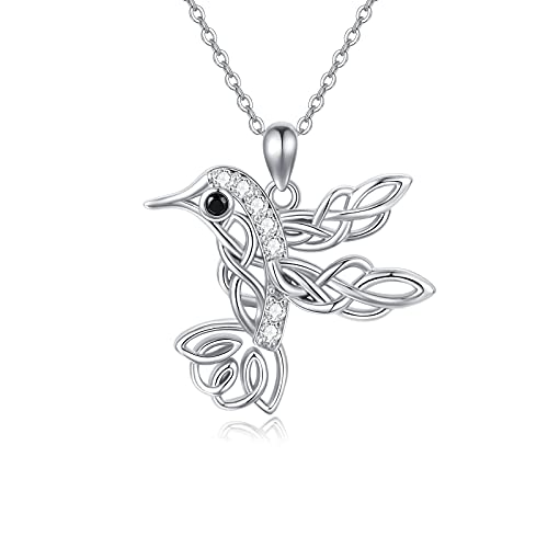Hummingbird Necklaces for Women, 925 Sterling Silver Celtic Hummingbird Pendant Bird Jewelry Inspirational Gift for Birthday Graduation Mom Daughter Wife Girlfriend