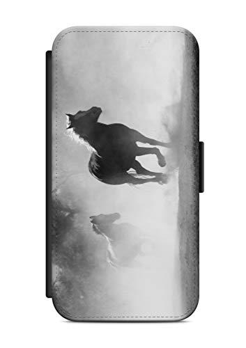 aina Kompatibel mit Samsung Galaxy J3 2017 Flipcase Handytasche Hülle mit Magnetverschluss auffklappbar Pferd Motiv Bild
