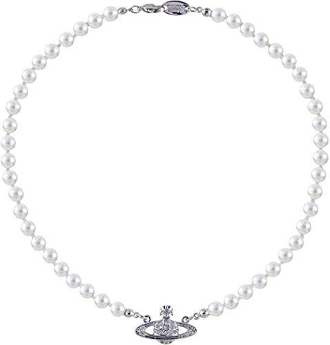 NC520 Hombres Mujeres Diseño clásico Retro Fácil de Combinar Hip Hop Rock Collar de Perlas de Saturno con Logotipo Collar Colgante de Broche de Langosta
