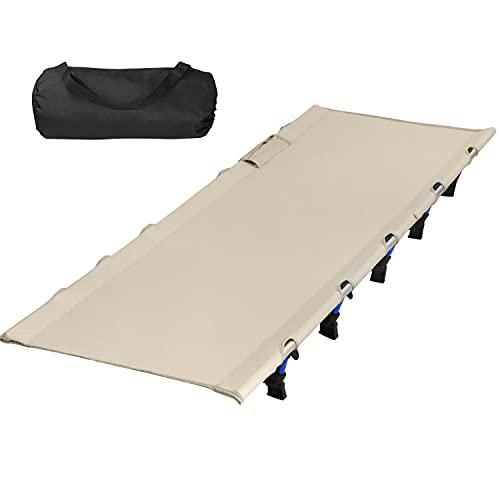 アウトドアベッド キャンプコット DINOKA 折り畳み式ベッド キャンピングベッド 耐荷重180KG ワイドサイズ200×70×17CM コンパクト 組立簡単 山登り 防災 (クロ)