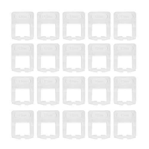 Weikeya Nivelador de azulejos horizontal, instalación de azulejos de 1,5 mm nivelador espaciadores hechos de plástico (transparente)
