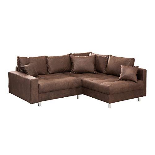 Riess Ambiente Ecksofa Kent 220cm braun Federkern inkl. Hocker und Kissen Sofa Couch Ottomane beidseitig aufbaubar