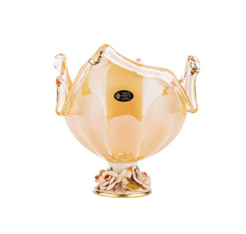 Murano Glass 12-Inch Footed Candy Fruit Bowl Decorative Vase Centerpiece, Vintage Design Crystal Wedding Gift with Capodimonte Porcelain Flowers (Honey)