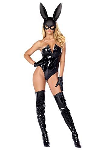 Forplay Women's Breathtaking Bunny V Wire Vinyl Bodysuit Mask and Gloves, Black, Medium/Large