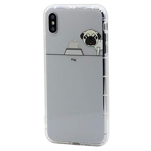 Keyihan iPhone 6S Plus/iPhone 6 Plus Funda Carcasa Cómic Divertido Perro Lindo patrón Transparente Suave TPU Silicona Shockproof Parachoques Bumper Case para Apple iPhone 6s Plus (Doguillo Pug)