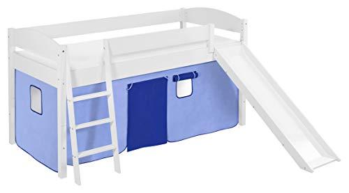 Lilokids Spielbett IDA 4105 Blau-Teilbares Systemhochbett weiß-mit Rutsche und Vorhang Kinderbett, Holz, 208 x 220 x 113 cm