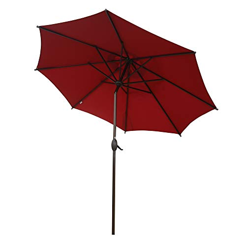 Abba Patio 9 ft Patio Umbrella Outdoor Market Table Umbrella with Push Button Tilt and Crank for Garden, Lawn, Deck, Backyard & Pool, 8 Sturdy Steel Ribs, Red