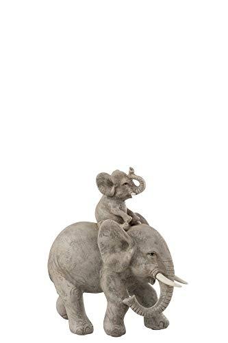 J-line Statuette éléphant et Petit sur Le Dos 6485 18,5x17,5x8cm