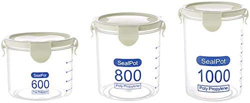 Luchtdicht voedsel opslag containers, lekvrij keuken pantry opslag containers met deksels granen & droog voedsel plastic opslag containers voor het bakken van benodigdheden, Set van 4 Groen
