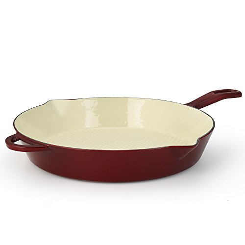 Essenso Enameled Cast Iron Skillet Frying Saute Fry Pan, Enamel - Ceramic Coated, 11' Dark Red / Cherry / Cream, Induction and Glass Stove Compatible