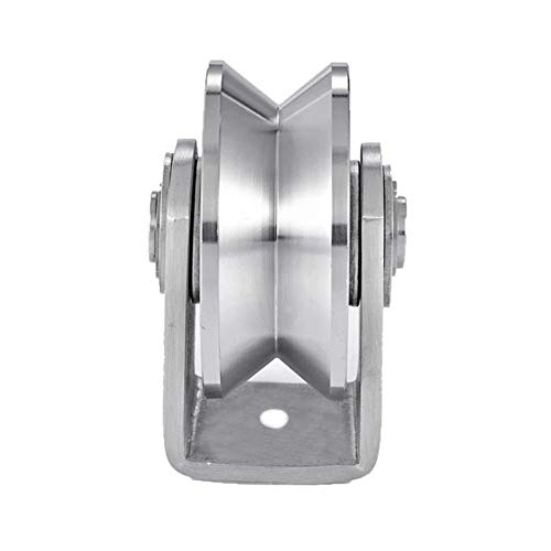 Joyoya Stainless Steel Groove Wheel Heavy Duty Track Wheel Rigid Caster Sliding Gate Roller Wheel V/U/H Groove Wheel Double Bearing for Swing Sliding Gate