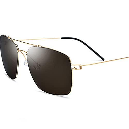 TTWLJJ Hombres y Mujeres Gafas de Sol sin Montura Polarizadas UV400 Gafas de Sol Aire Libre Deportes Golf Ciclismo Pesca Senderismo,Oro