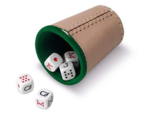 Cayro - Cubilete de Cuero y Dados - 5 Dados de Póker o 5 Dados de Puntos - 16 mm (Cubilete de Cuero y 5 Dados de Póker de 16 mm - 674)