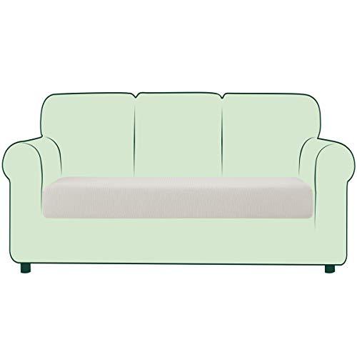 CHUN YI Stretch Sofa Seat Cushion Cover, Fitted Sofa Couch Cushion Covers Furniture Protector, Checks Jacquard Spandex Fabric (Sofa, Ivory)