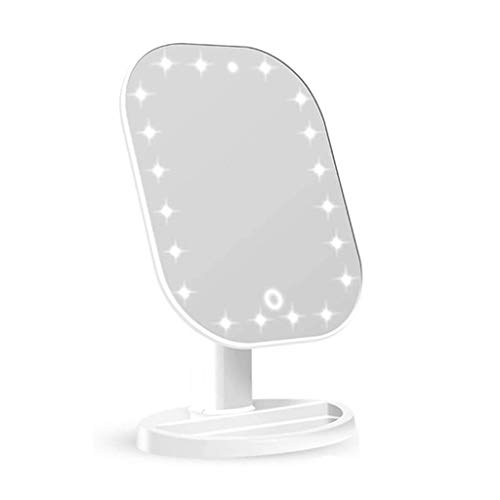 XYSQWZ Makeup Mirror Lighted Mirror Countertop New Led With Light Smart Touch Screen Dimming 20 Lights Bead Usb Rechargeable Lighted (color : White Size : 265x169x122mm)