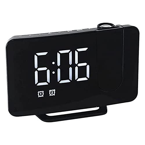 SFLRW Reloj de alarma de proyección, despertador, 6 '' grande DIRIGIÓ Pantalla, negro, ajuste el brillo automáticamente, reloj digital con USB Cargador de teléfono, FM Radio, Snooze, Temporizador de s