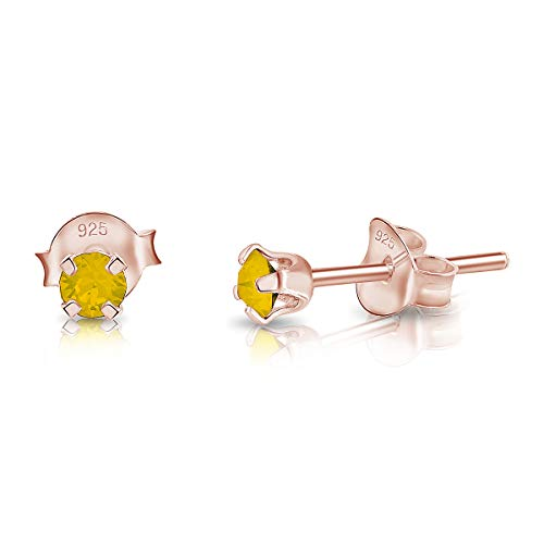 DTPSilver - 925 Sterling Silver Rose Gold plated Round TINY Stud Earrings made with Glittering Crystals from Swarovski Elements - Diameter: 3 mm - Colour : Yellow Opal