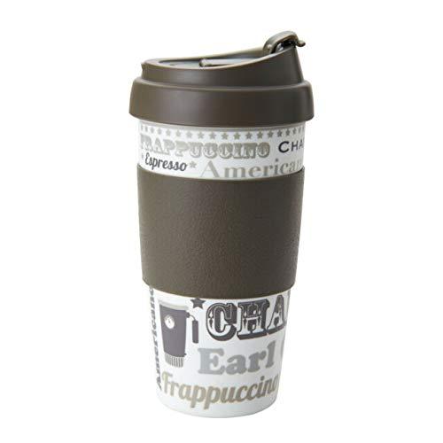 DFL 16 Ounce Double Wall Coffee Mugs, 2 Pack, Brown/Coffee Talk