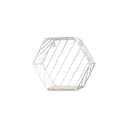 SIRIGOGO Estante de Hierro Rejilla Hexagonal para Colgar en la Pared, diseño geométrico, A, D