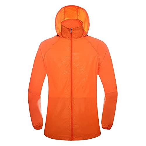 Briskorry Veste de pluie légère et respirante pour homme et femme, unisexe, fine veste coupe-vent avec capuche, veste de sport coupe-vent avec cordon de serrage réglable, Orange, XXL