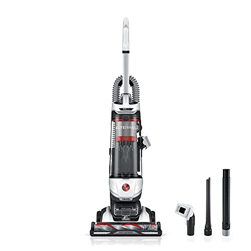 Hoover MAXLife Elite Swivel Vacuum Cleaner with HEPA Media Filtration, White, UH75150 Bagless Upright for Carpet and Hard Floors, 15.4 lbs