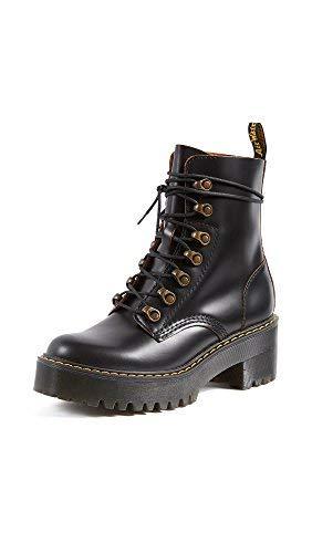 Dr. Martens Shoes Leona Boot, Black Vintage Smooth, 6 UK, Women's 8 US