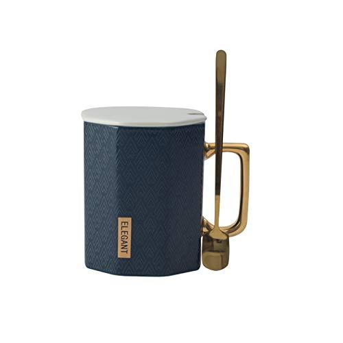 Große Kapazität Business Office Coffee Water Cup Becher Mit Überdachtem Löffel Polygon Keramik-tasse 350ml blau