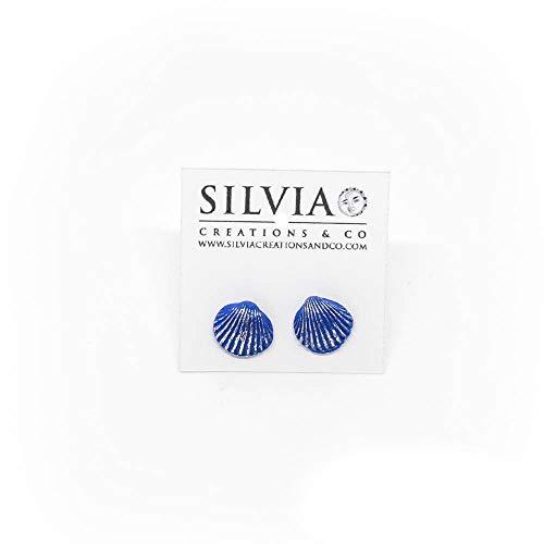 Orecchini a lobo con conchiglia blu e argento 12x10 mm