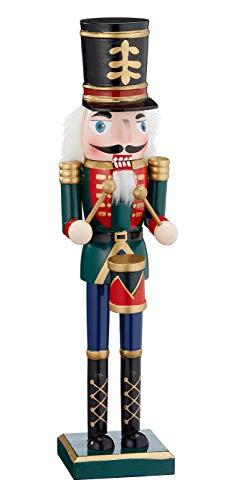 Nussknacker Trommler Dekofigur Weihnachtsdeko (38 cm, Grün)