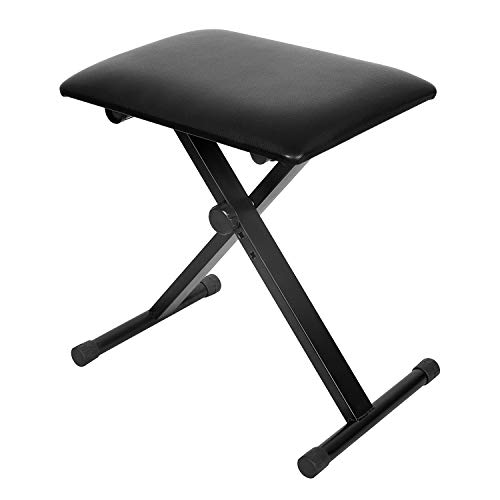Review Kuyal Piano Bench, Adjustable Height Keyboard Bench, Padded Seat, X-Style Stool, Black