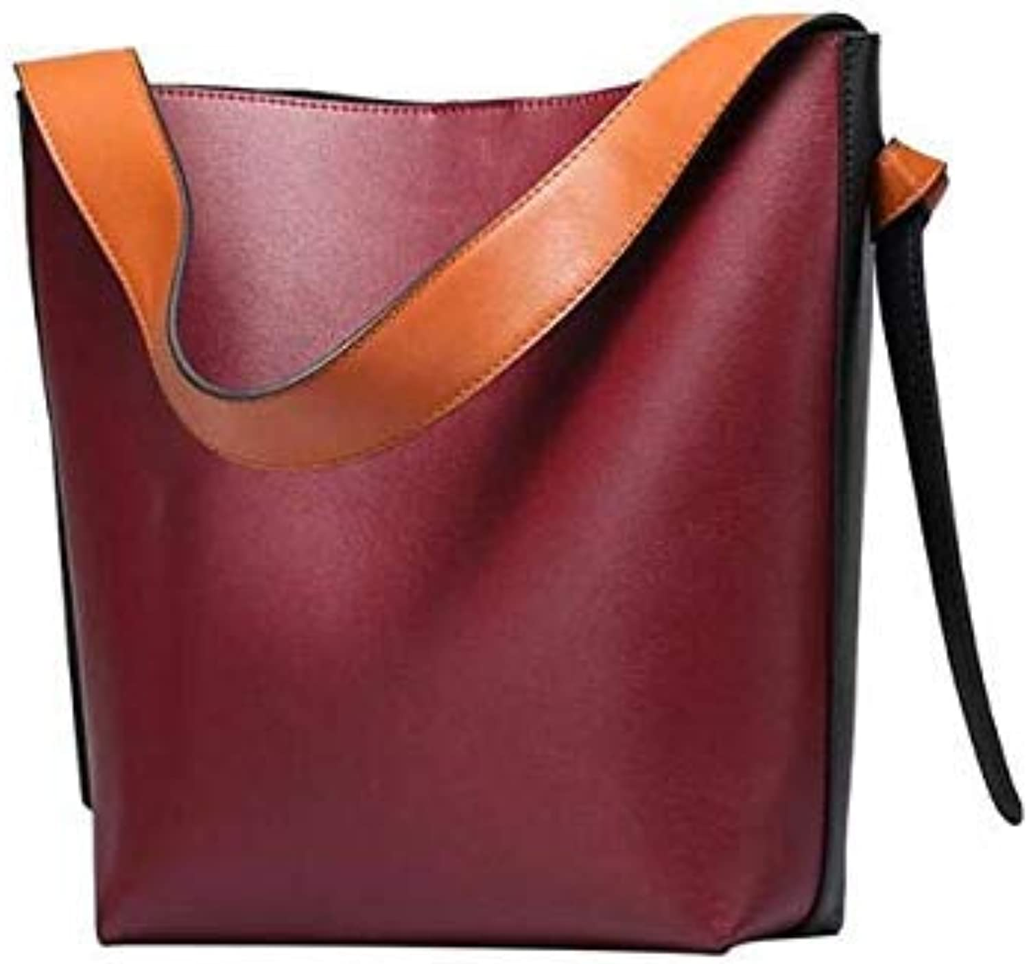 Foxtail Lily Luxury Quality Bucket Handbag Large Capacity Ladies Leather Shopping Bag Famous Designer Women Shoulder Bags Red Wine 26 x 10 x 32 cm