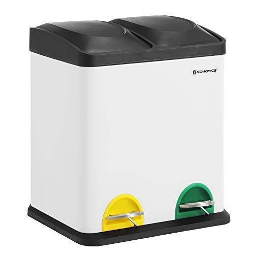 SONGMICS Mülleimer 30 Liter, Mülltrennung, 2 x 15 Liter, Abfalleimer, Treteimer mit Inneneimern, farbigen Pedalen, Mülltrennsystem für die Küche, weiß-schwarz LTB30W