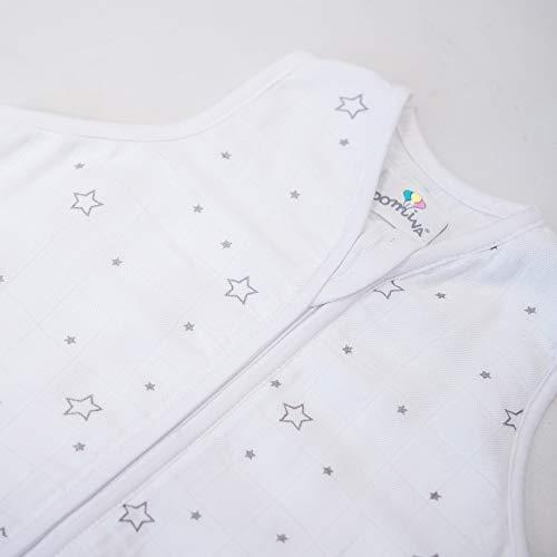 Domiva - Saco de dormir de muselina de bambú, estampado de estrellas, 0-6 m, 70 cm