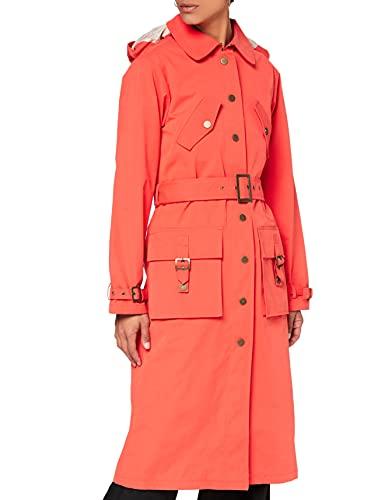 Marca Amazon - find. Abrigo Largo con Cinturón Mujer, Rojo (Red), 38, Label: S (Ropa)