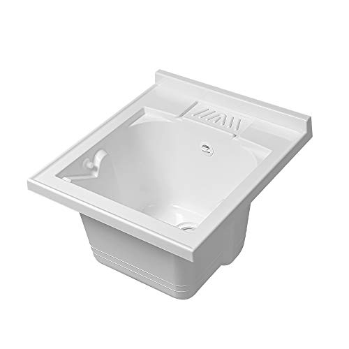 Lavatoio-Lavapanni in Resina, Bianco, 45x50-45x60-50x50-60x50-60x60, Ideale per Installazione su Mobile o Piano da appoggio (45x50)