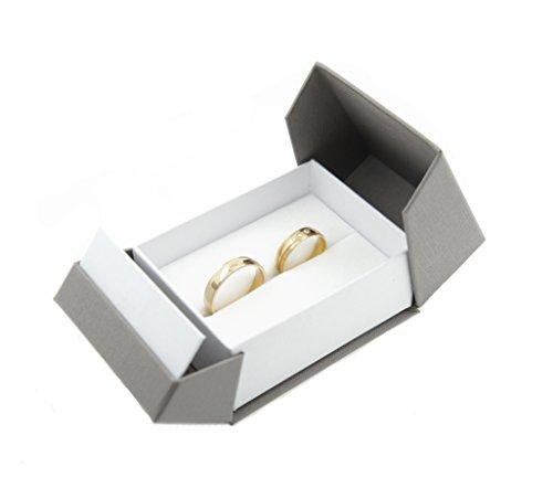 Trauring-etui Ehringe Box Hochwertige Ring-Schachtel Ringbox für Hochzeit Valentinstag Verlobungsring Grau Weiß Box 3