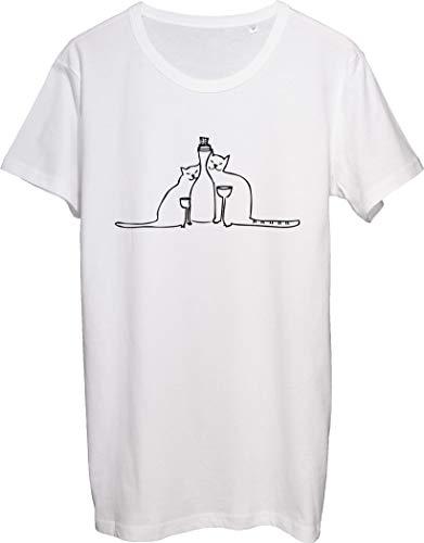 Camiseta para hombre con forma de silueta de gatos y copas
