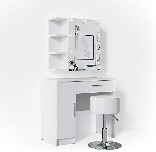 Vicco Schminktisch Fynnia Weiß mit Hocker und LED-Beleuchtung Kosmetiktisch Frisierkommode Frisiertisch Spiegel +++ MIT AUFKLAPPBAREN SPIEGELSCHRANK +++