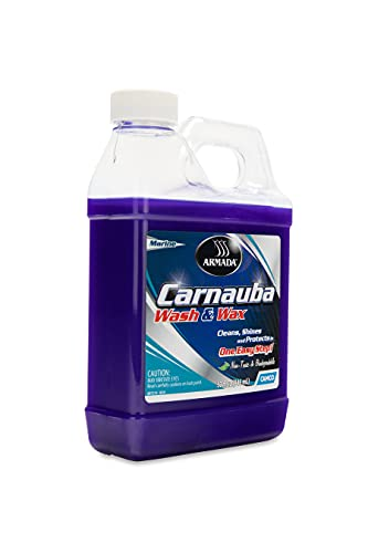 camco rv waxes Camco Armada Marine Wash & Wax Cleaner - Clean, Shine and Protect, Your Boat or Vehicle in One Easy Step | Contains 100% Carnauba Wax - 32 oz. (40922)