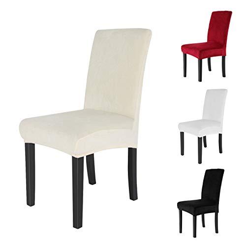 AllRight 6 x Stuhlhussen Stuhlbezug Stuhlüberzug Stretchhussen Hochzeit Mehrere Auswahl Crème