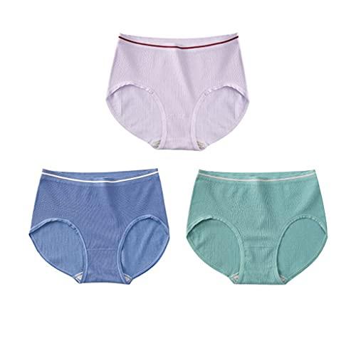 GDSSX 3 Pares de Ropa Interior Mujeres High Elastic Mid-Cintura Bikini Scrots Cómodo (Color : Multicolor 1, Size : M)