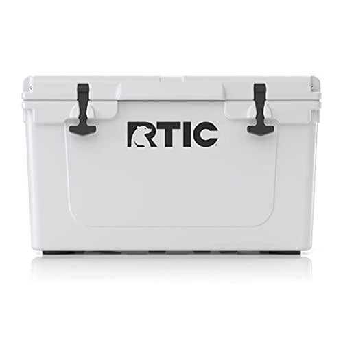 RTIC Hard Cooler, 45 qt, White, Ice Chest with Heavy Duty Rubber Latches, 3 Inch Insulated Walls