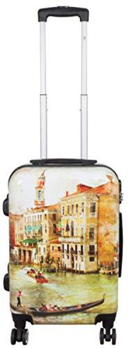 Polycarbonat Hartschalen Koffer Trolley Reisekoffer Reisetrolley Handgepäck Boardcase Motiv PM (Venedig Art, Größe M)