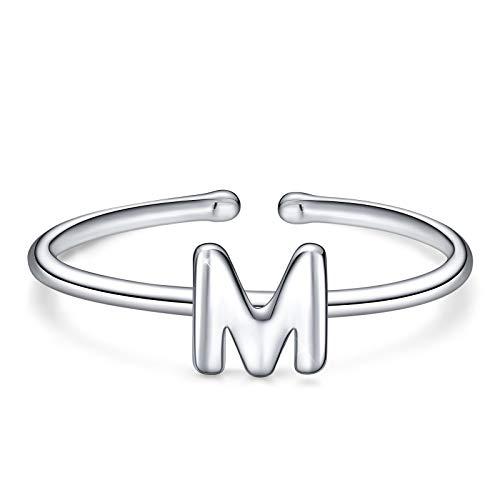 Simpgirl, anello con lettera, in argento Sterling 925, aperto, regolabile, con iniziali dell'alfabeto A-Z, anelli per donne, ragazze e bambini e Argento, regolabile, colore: m, cod. A