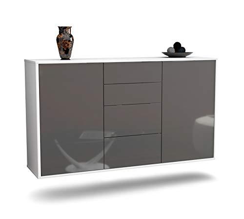 Dekati Sideboard Corona hängend (136x77x35cm) Korpus Weiss matt | Front Hochglanz Grau | Push-to-Open | Leichtlaufschienen