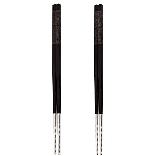 HTian Palillos de Plata de Madera de 2 Pares, 9,45'/ 24 cm de Largo, Juego de Palillos Reutilizables, livianos japoneses Chinos palitos