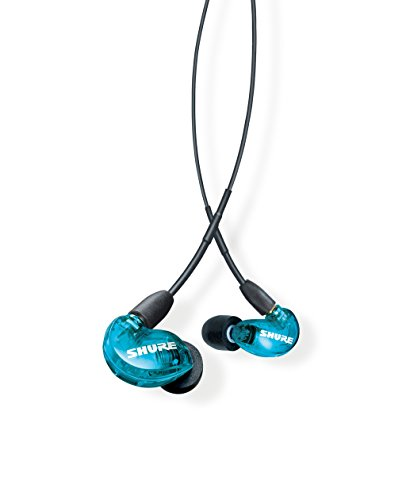 Shure SE215SPE Professional Sound Isolating Earphones with Single Dynamic MicroDriver, Secure In-Ear Fit - Blue